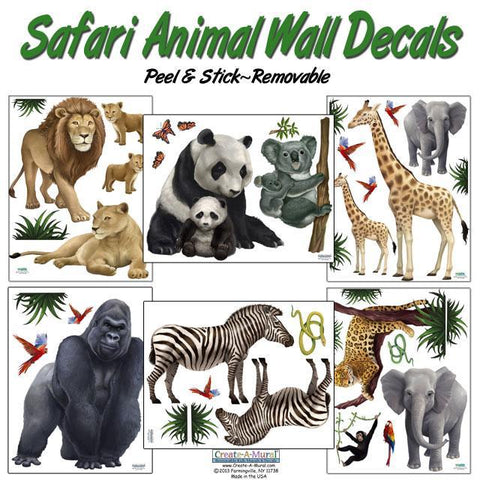 Kids Wall Stickers, Safari Wall Decals - Kids Room Mural Wall Decals
