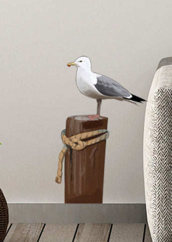 Seagull on Post Wall Decals