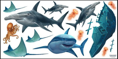 Shark Mural - Kids Room Mural Wall Decals