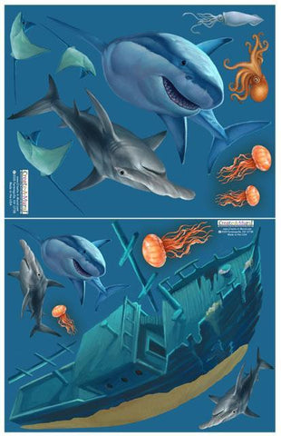 Ship Wreck Shark Wall Decals -Boys Wall Decor Stickers - Create-A-Mural
