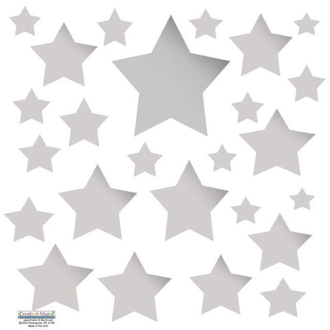 Silver Multi Star Wall Decals - Kids Room Mural Wall Decals
