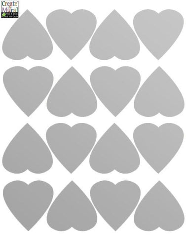 Silver Mini Heart Wall Decals - Kids Room Mural Wall Decals