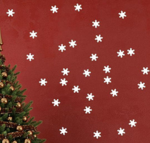 (48) Snowflake Wall Decals -Vinyl Christmas Wall Decor Stickers