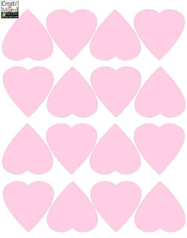 Heart Wall Decals -Soft Pink - Kids Room Mural Wall Decals