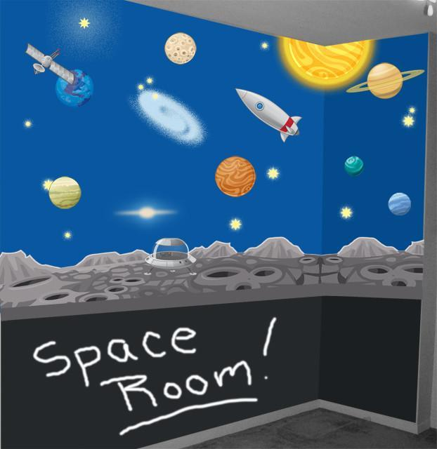 Space Mural For Kids Room Decorating