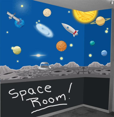 Space Adventures Mural - Kids Room Mural Wall Decals