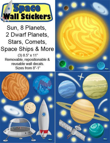 Space Wall Stickers - Kids Room Mural Wall Decals