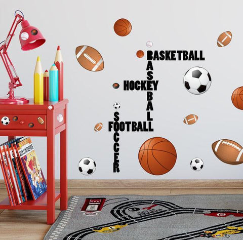 Sports Boys Wall Decal ~ Football Basketball Soccer Baseball - Create-A-Mural
