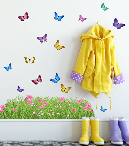 Spring Butterfly Meadow Grass Border Wall Decals - Kids Room Mural Wall Decals