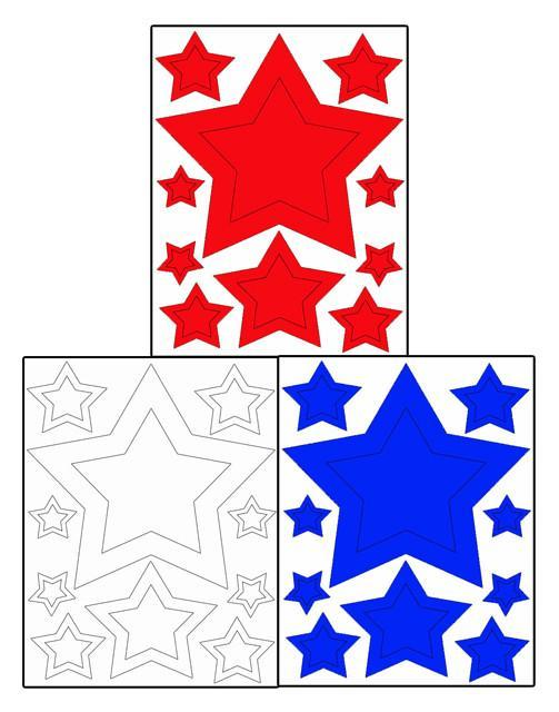 Red White & Blue Star Wall Stickers