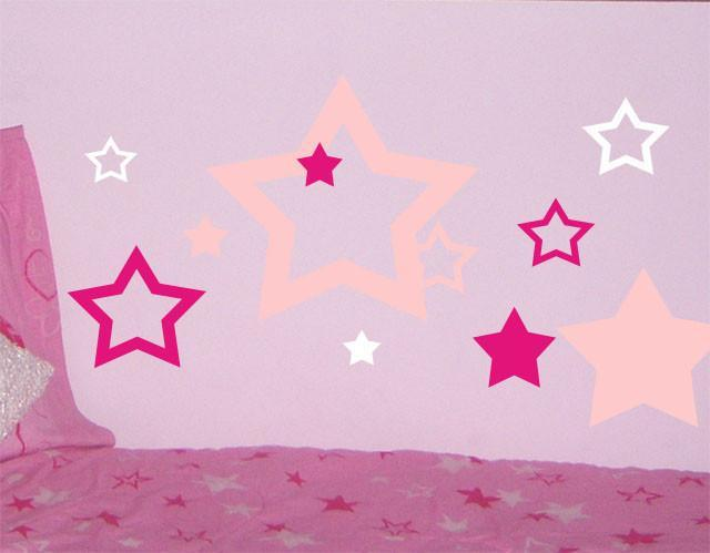 Stars Pink Hot Pink White Wall Stickers