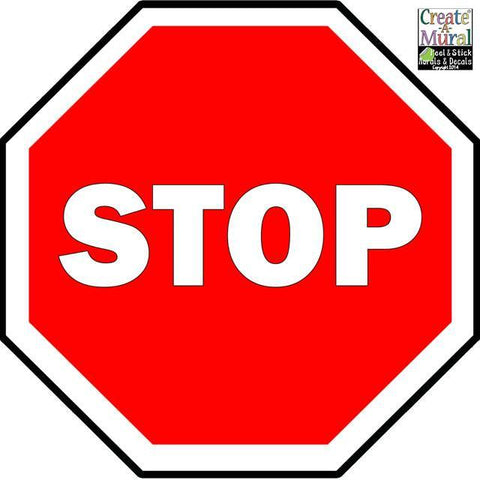 Stop Sign Wall Decal - Kids Room Mural Wall Decals