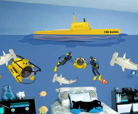 Submarine Mural - Kids Room Mural Wall Decals
