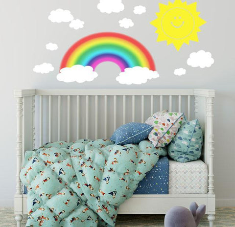 Smiley Sun, Clouds & Rainbow Wall Decals - Kids Room Mural Wall Decals