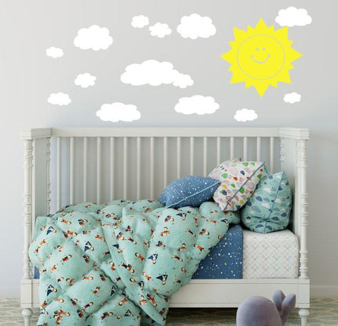 Smiley Sun & Clouds Wall Decals - Kids Room Mural Wall Decals