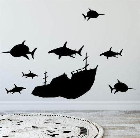 Vinyl Sunken Ship & Shark Wall Decals, Boys Wall Stickers - Kids Room Mural Wall Decals