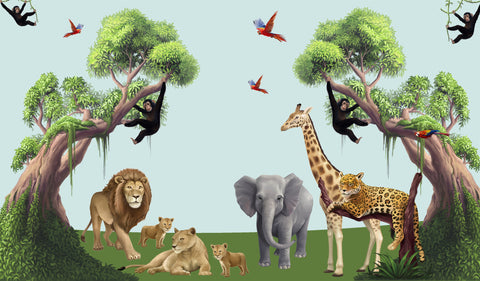 Super Mega Jungle Animal Mural Kit - Kids Room Mural Wall Decals
