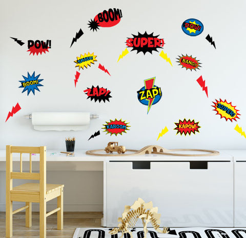 Superhero Comic Words Decor Wall Decals - Kids Room Mural Wall Decals