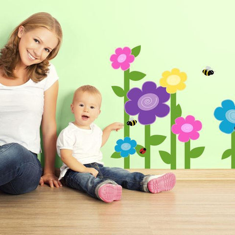 Bright Swirly Flower Wall Decals - Kids Room Mural Wall Decals