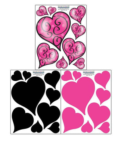 Swirly Pink & Black Heart Wall Decals - Kids Room Mural Wall Decals