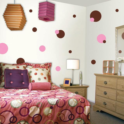 Polka Dot Wall Stickers- Pink & Brown Dot Decals