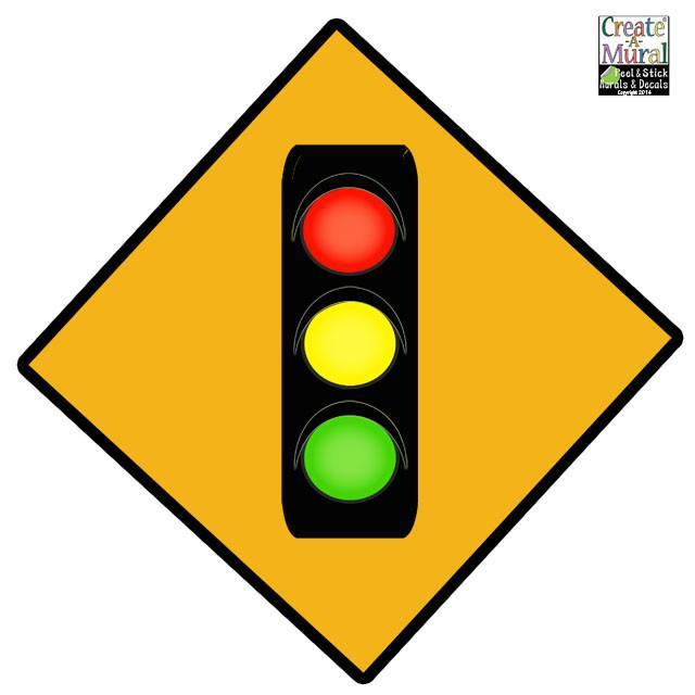 Traffic Light Sign Wall Decal for Kids Room Walls – Create-A-Mural