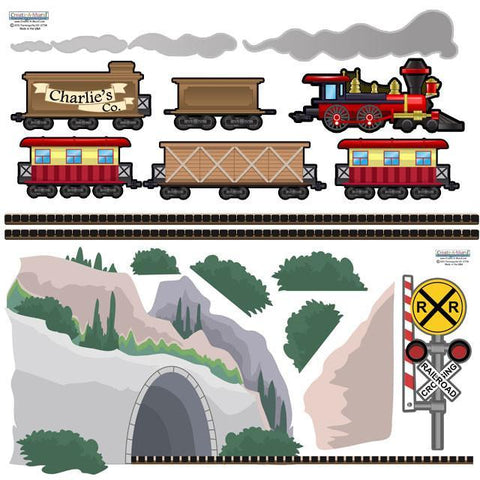 Train Adventures Mural - Kids Room Mural Wall Decals