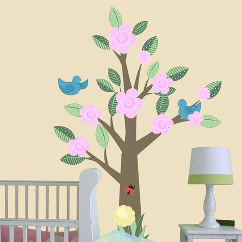 Nursery Tree with Blossoms Mural - Kids Room Mural Wall Decals