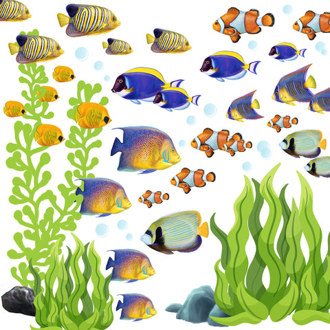 Tropical Fish with Seaweed Decals