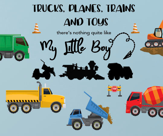 Boys Trucks n' Quote Wall Decals, Vinyl Boys Room Wall Sticker Decor