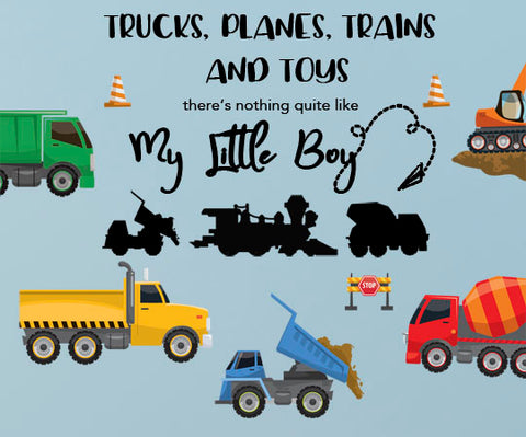 Boys Trucks n' Quote Wall Decals, Vinyl Boys Room Wall Sticker Decor - Create-A-Mural