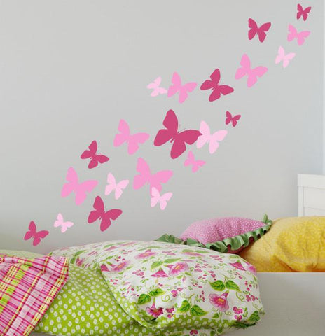 Butterfly Wall Decals 3 Pinks -Girls Wall Stickers - Kids Room Mural Wall Decals