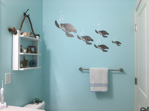 Sea Turtle Family Wall Decals - Kids Room Mural Wall Decals