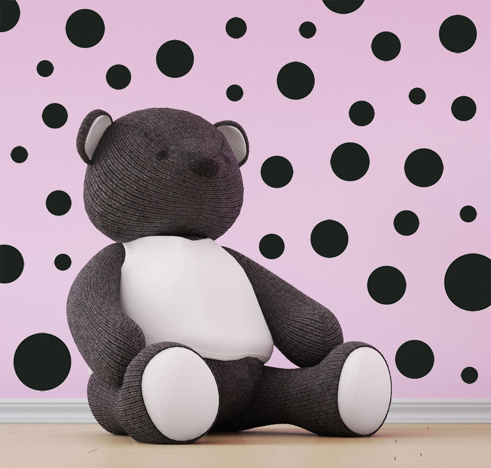 Black Polka Dot Wall Decals 63 Kids Wall Dots