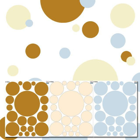 Polka Dot Wall Decals-Caramel, Soft Yellow & Baby Blue