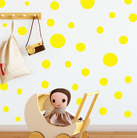 Polka Dot Wall Decals- Yellow Wall Dot Stickers - Kids Room Mural Wall Decals
