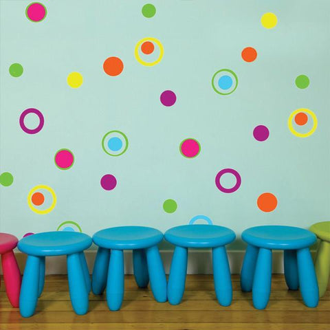 Fun Dots & Circle Rings Wall Decals - Kids Room Mural Wall Decals
