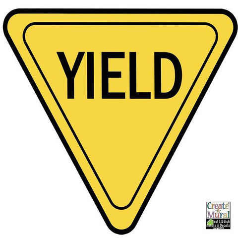 Yield Sign Wall Decal - Kids Room Mural Wall Decals