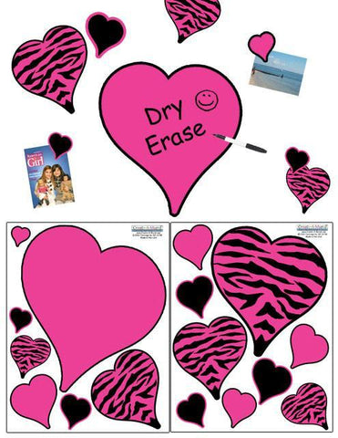 Zebra Hearts Wall Decals