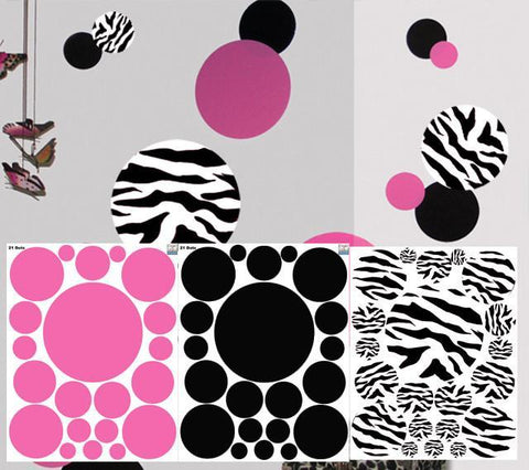 Zebra Pink & Black Dot Decals - Kids Room Mural Wall Decals