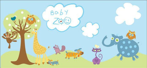 Baby Zoo Animal Mural - Kids Room Mural Wall Decals