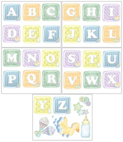 Alphabet Baby Blocks Wall Decals For Nursery Room Decor