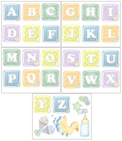 Nursery Room Alphabet Baby Blocks Wall Stickers - Kids Room Mural Wall Decals