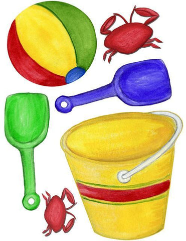 Beach Ball Pail & Shovel Wall Stickers -Kids Wall Decals - Create-A-Mural