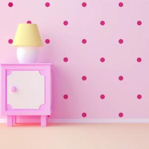 Hot Pink Room Dots Wall Decals - Create-A-Mural