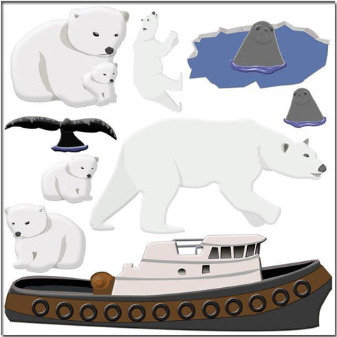 Polar Bear Mural Wall Stickers - Kids Room Mural Wall Decals