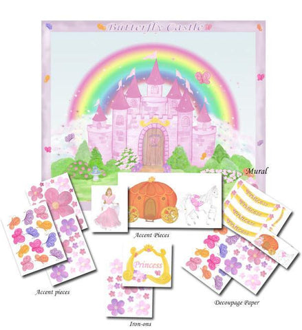 Butterfly Castle Room In A Box - Kids Room Mural Wall Decals