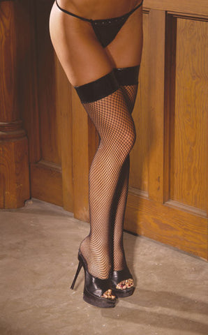1769 Fishnet Thigh Hi with Vinyl Top