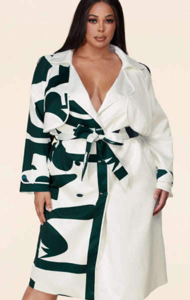 Amanda abstract print trench Plus-Size