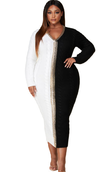 Pre-order CRUELLA Bicolor Sweater Dress PLUS SIZE